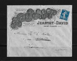 1916 Frankreich →  Lettre Jeantet-David, Saint-Claude à Lausanne Suisse ►Mi.115◄ - France