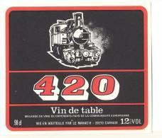Etiquette De Vin De Table -    420   -  Le Manac'h  à  Carhaix  (29)       (Thème Train  Locomotive) - Trains