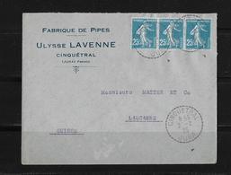 1925 Frankreich → Lettre Fabrique De Pipes Ulysse Lavenne Cinquétral à Lausanne Suisse ►Mi.3x115a◄ - France