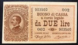 2 Lire Vitt. Em. III° 02 09 1914 Serie 002 Biglietto Naturale Spl  LOTTO 506 - [ 1] …-1946 : Regno