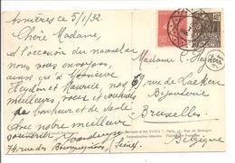 Cachet Muette 8-I .Asnières 5.1.32>Bruxelles TB - France