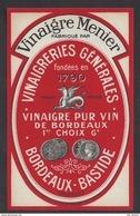Etiquette  De Vinaigre Pur Vin 6°  Menier  -  Vinaigrerie Générale   à  Bordeaux Bastide  (33) - Etiquettes