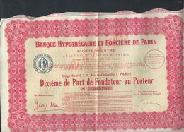 ACTION BANQUE HYPOTHÉCAIRE & FONCIÈRE DE PARIS : - Banque & Assurance