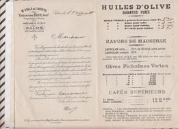 81071 Lettre Tarif M VIALA DE LACOSTE OLIVIERS MOULINS A HUILE SALON / 1910 - Frankreich