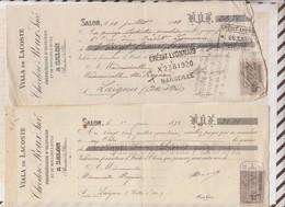 81066 DEUX Lettres DE CHANGE VIALA DE LACOSTE MOULINS A HUILE SALON 1898-1908 - Wechsel