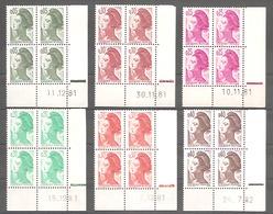 LIBERTE De GANDON 1982 -  Série Complète 13 Valeurs. Coins Datés Y&T N° 2178 à 2190 . Avec RE Ou 2 Traits. TB - Hoekdatums
