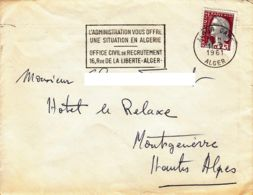 ALGERIE-FRANCE - 1961 - Lettre D'Alger Pour Montgenèvre - Affranchissement Français - Algérie (1924-1962)