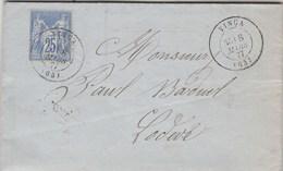 Yvert 78 Sage Sur Lettre Entête Taix Cadet Cachet VINCA Pyrénées Orientales 8/3/1877 Pour Lodève Hérault - Ambulant - Marcophilie (Lettres)