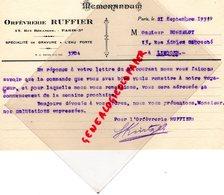75- PARIS- RARE   MEMORANDUM ORFEVRERIE BIJOUTERIE RUFFIER- 12 RUE BEARANGER-1933 GRAVURE EAU FORTE - Old Professions