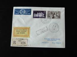 PREMIER SERVICE AEROPOSTAL FRANCE - COLOMBIE PAR AVIANCA -  1953  -  EN RECOMMANDE  - - Marcofilia (sobres)