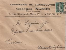 Marseille  : Enveloppe Publicitaire De La Savonnerie De L'Agriculture G. ALABE, 17 Rue Champ De Mars. - Postmark Collection (Covers)