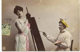 8385 - Art -  LE  PEINTRE Et Son MODELE   Métier   Circulée En 1907 - Artigianato