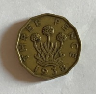GRAN BRETAGNA  - 1938  Moneta 3 PENCE - Giorgio VI - 1971-… : Monete Decimali