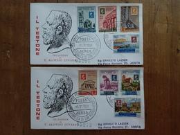 SAN MARINO - Centenario Del Francobollo Di Sicilia - 2 F.D.C. Raccomandate Viaggiate + Spese Postali - FDC