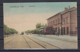 """Dt.Reich 1942 Colorkarte """" Heydekrug Bahnhof """" Mit Einfahrendem Zug, Gelaufen Ab Heydekrug - Ostpreussen"""