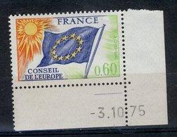 France 1975 - Neuf ** - Y&T N° Service 47 - Conseil De L'Europe 0,60f - Coin Daté 3.10.75 - Ungebraucht