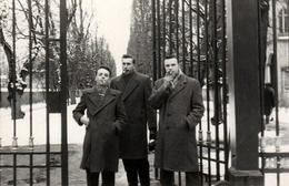 Photo Originale 3 Copains, 3 Manteaux, 3 Cigarettes ! Cheveux Gominés Remplis De Personnalité Vers 1950/60 - Personnes Anonymes