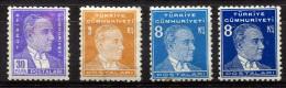 TURKEY 1936-38 - Mi.1000-1002a,b  MNH  (postfrisch) Perfec - 1921-... République