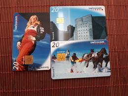 3 Phonecards Zwitserland 20 CHF Used 2 Scans  Rare - Switzerland