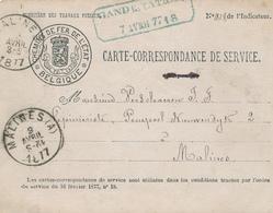 572/28 - Carte De Service Chemins De Fer ETAT - RARE Cachet Bleu Oblong GAND Station 1877 Vers Malines - Other