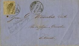 1868 , SUIZA , ENVUELTA CIRCULADA , NEUMUNSTER - ZÜRICH  , FR. HELVETIA 2 CTS. - 1862-1881 Sitted Helvetia (perforates)