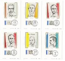 Carte Maximum 1991 - Poètes Francais - Paul Eluard André Breton Louis Aragon Francis Ponge Jacques Prévert René Char - Maximum Cards