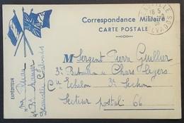 Carte De Franchise Militaire Illustrée 3 Drapeaux De Deauville Vers Sergent 3e Bataillon De Chars Légers Septembre 1939 - Marcophilie (Lettres)