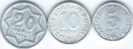 Azerbaijan - 1993 - 5 Qapik (KM1a) 10 Qapik - 1992 (KM2) & 20 Qapik - 1993 (KM3a) - Azerbaïdjan
