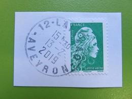 Timbre France YT 5252 - Marianne L'Engagée D'Yseult - Lettre Verte - Sur Fragment - Cachet Rond Laissac (Aveyron) - 2018 - 2018-... Marianne L'Engagée