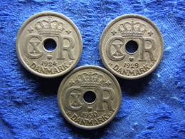 DENMARK 25 ÖRE 1924 KM823.1, 1929, 1930 KM823.2 - Danemark