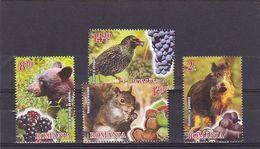 2014 Romania, Roumanie, Rumania - Wild Animals And Fruits Bear Squirrel Nature/Wildlife 4v., Mi 6861/64 MNH - Francobolli