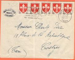 FRANCIA - France - 1959 - 5 X 5F Lille + Flamme Centenaire De Jaurès, Exposition Musée Jean-Jaurès- Viaggiata Da Castres - Francia