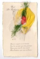 CP Fantaisie Bonnet De Sainte-Catherine Jaune à Dentelle, Tissu, Ruban Et Fleurs - A Systèmes