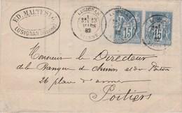 Yvert 90 X 2 Paire Avec Bord De Feuille Sage Sur Lettre Entête Malteste LUSIGNAN Vienne 23/3/1882 Pour Poitiers - Marcophilie (Lettres)