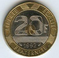 France 20 Francs 1992 5 Séries V Fermé GAD 871 KM 1008.2 - France