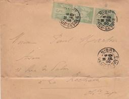 Yvert 102 X 3 Bande Verticale Sage Sur Lettre Cachet NIORT Deux Sèvres 28/7/1900 Pour La Rochelle - Marcophilie (Lettres)