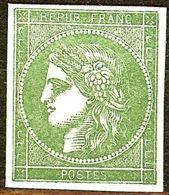 RARE EPREUVE TAILLE DOUCE CERES N°2 VERT SANS FACIALE POINCONS ORIGINAUX - 1849-1850 Cérès