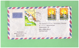 1999 INDIA AIR MAIL COUVERT WITH 4 STAMPS TO SWISS - India