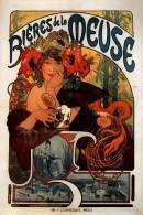 Alphonse Mucha Bieres De La Meuse 1898 Advertising Postcard : Size 15x10 Cm. Aprox. - Publicidad