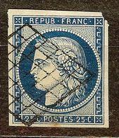 SUPERBE CERES N°4a 25c Bleu Foncé Oblitéré GRILLE Cote 70 Euro PAS D'AMINCI - 1849-1850 Ceres