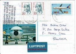 """2002 - Entier Postal """"NAPOSTA 89"""" Airbus A320 + Complément D'affranchissement Pour La France Tp N° Yvert 1192 - DDR"""