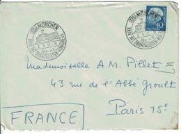 """1957 - Lettre De MÜNCHEN Pour Paris - """"XXIV INT. ORIENTALISTEN - KONGRESS"""" - Tp Yvert N° 126 (Michel 260) - [6] Democratic Republic"""