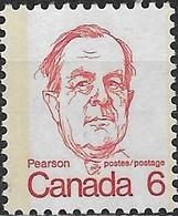 CANADA 1972 L. B. Pearson - 6c - Red MNH - 1952-.... Règne D'Elizabeth II