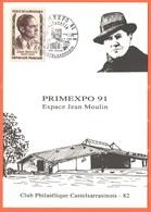 FRANCIA - France - 1991 - 8F Jean Moulin + 2,10 Marianne Du Bicentenaire (timbre Au Dos) + Spécial Cachet Castelsarrasin - France