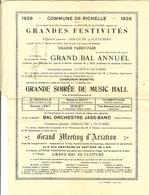 "Carte Lettre RICHELLE 1928 "" Grand Bal  Annuel - Grande Soirée De Music Hall - Grand Meeting D'aviation "" Queu Du Bois . - Historical Documents"