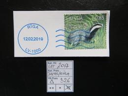 """2017 """" Dachs """" Gestempelt RIGA In Blau, LOT 326 - Lettland"""