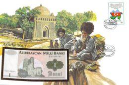 FDC Mit Geldschein 1 Manat Bankfrisch Aserbaidschan - Azerbaïjan