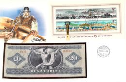 FDC Mit Geldschein 20 Forint Bankfrisch & Block1975 Ungarn - Ungarn