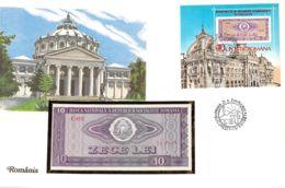 FDC Mit Geldschein 10 Lei Bankfrisch & Block Rumänien - Rumänien