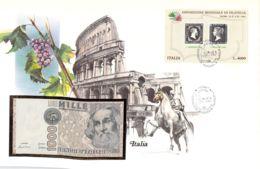 FDC Mit Geldschein 1000 Lire Bankfrisch 1982 & Block Italien - [ 2] 1946-… : Républic